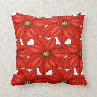 Almofada Poinsétias Travesseiro-Vermelhas do feriado