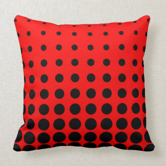 Almofada Ponto colorido preto & vermelho do abstrato do