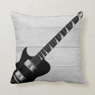 Almofada Pop art de madeira cinzento da guitarra elétrica
