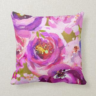 Almofada Pop do chique floral na moda moderno do ouro roxo