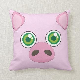 Almofada Porco bonito com o travesseiro do rosa dos olhos