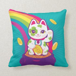 Almofada Pote de boa sorte de Maneki Neko do gato de ouro