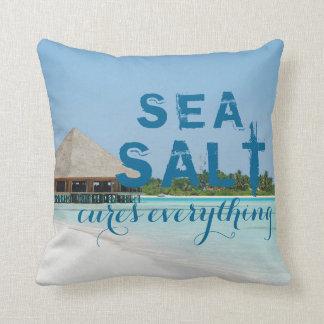 """Almofada Praia azul do Aqua com do """"curas de sal mar tudo """""""