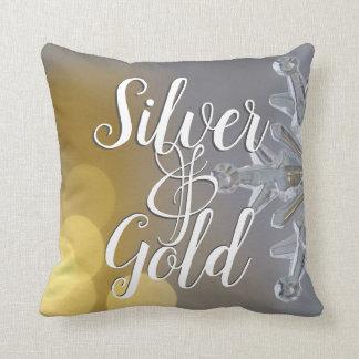 Almofada Prata de Bokeh dos feriados do Natal e travesseiro