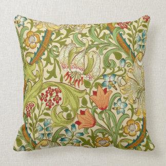 Almofada Pre-Raphaelite dourado do vintage do lírio de