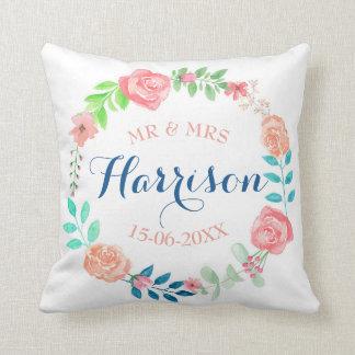 Almofada Presente do Sr. & da Sra. Floral Casamento Coxim