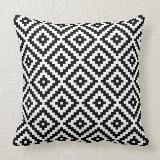 Almofada Preto & branco astecas de Ptn do símbolo do bloco