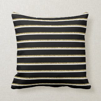 Almofada Preto, branco e travesseiro das listras do ouro