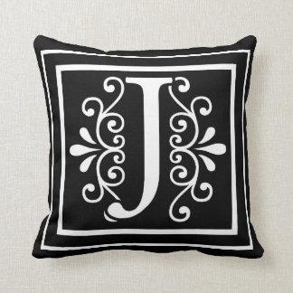 Almofada Preto do monograma da letra J