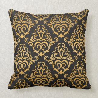 Almofada Preto e cor damasco do ouro