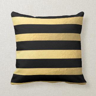 Almofada Preto e travesseiro listrado ouro