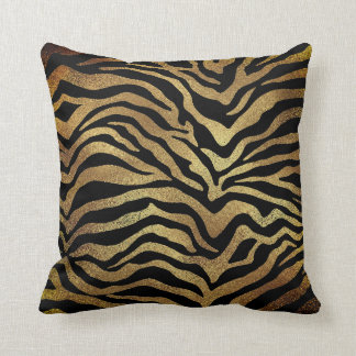 Almofada Preto Glam da pele animal da zebra do ouro