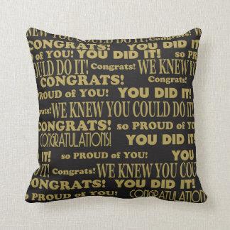 Almofada Preto graduado e ouro de Congrats