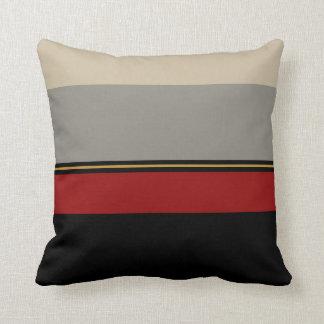 Almofada Preto, vermelho, cinzas e tan descanse