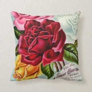 Almofada Propaganda do vintage da coleção dos rosas do por