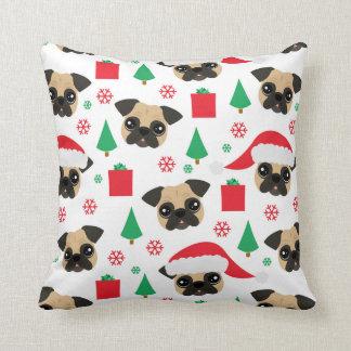 Almofada Pug bonito do Natal