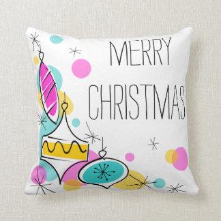 Almofada Quadrado de canto do Natal dos Baubles retros da