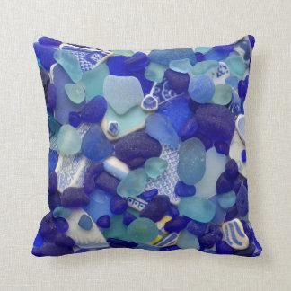 Almofada Quadrado de vidro da foto da praia de vidro azul