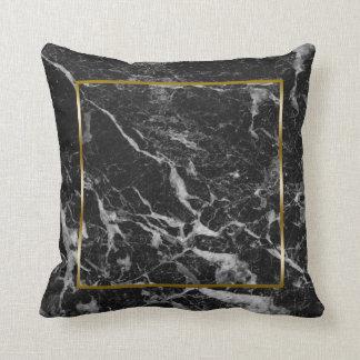 Almofada Quadro de mármore da beira do ouro do falso preto