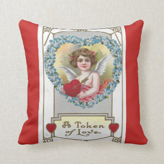 Almofada Querubim 1910 da menina do vintage com coração