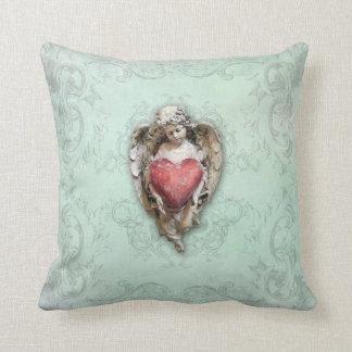 Almofada Querubim do vintage do Aqua com coração e