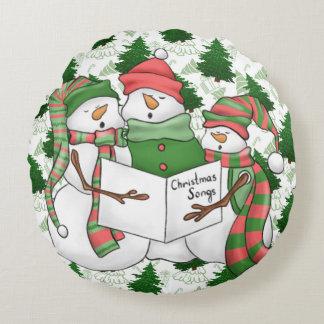 Almofada Redonda 3 Carolers do boneco de neve