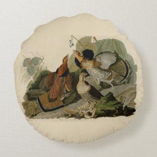 Almofada Redonda A pintura de Audubon de um trio do galo silvestre