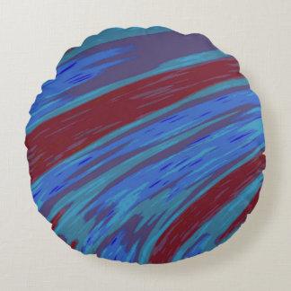 Almofada Redonda Abstrato da abanada da cor de azul vermelho