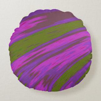 Almofada Redonda Abstrato da abanada da cor roxa e verde