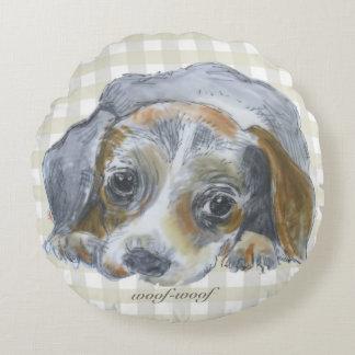 Almofada Redonda amante do cão do woof-woof - travesseiro redondo