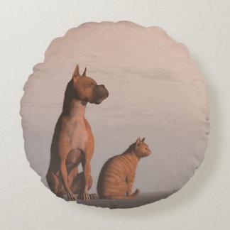 Almofada Redonda Amizade do cão e gato