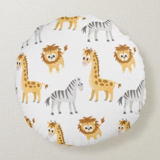 Almofada Redonda Animais bonitos do bebê do leão e do girafa da