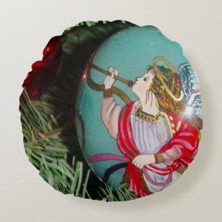 Almofada Redonda Anjo do Natal - arte do Natal - decorações do anjo