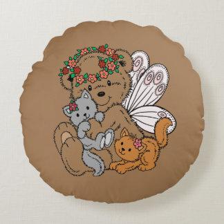 Almofada Redonda Anjo do urso com gatinhos