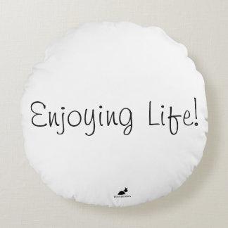 Almofada Redonda Apreciando a vida! Travesseiro redondo do acento