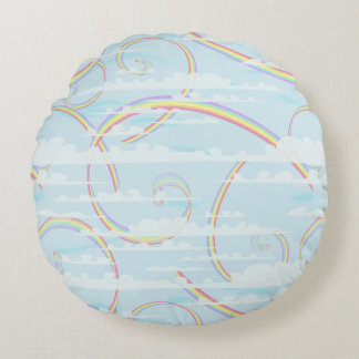 Almofada Redonda Arco-íris Pastel, nuvens, céu azul, redemoinho,