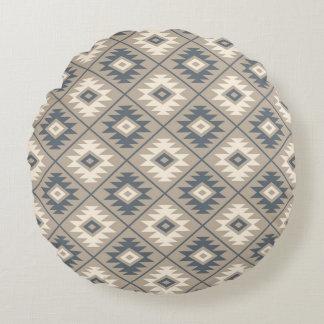 Almofada Redonda Areia de creme azul do teste padrão estilizado