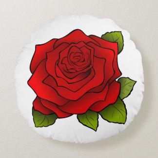 Almofada Redonda Arte brilhante da rosa vermelha