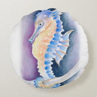 Almofada Redonda Arte da aguarela do cavalo marinho