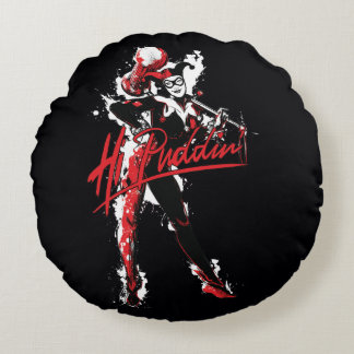 """Almofada Redonda Arte da tinta do Puddin'"""" de Batman   Harley Quinn"""