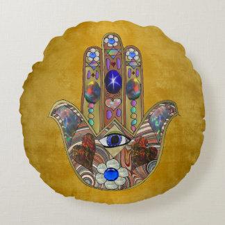 Almofada Redonda Arte do Opal das flores dos corações de Hamsa no