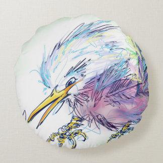 Almofada Redonda Arte irritada de Digitas do travesseiro do pássaro