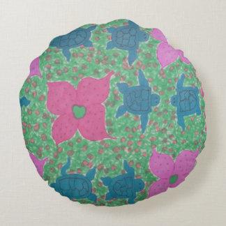 Almofada Redonda Arte tropical das tartarugas e das flores de mar