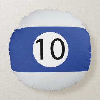 Almofada Redonda As bolas #10 do sólido e da listra de bilhar