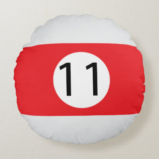 Almofada Redonda As bolas #11 do sólido e da listra de bilhar