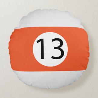 Almofada Redonda As bolas #13 do sólido e da listra de bilhar