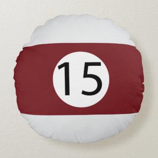 Almofada Redonda As bolas #15 do sólido e da listra de bilhar