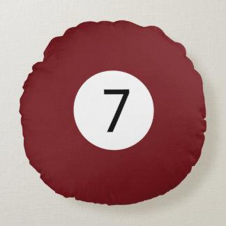 Almofada Redonda As bolas #7 do sólido e da listra de bilhar