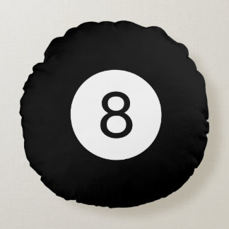 Almofada Redonda As bolas #8 do sólido e da listra de bilhar
