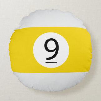 Almofada Redonda As bolas #9 do sólido e da listra de bilhar